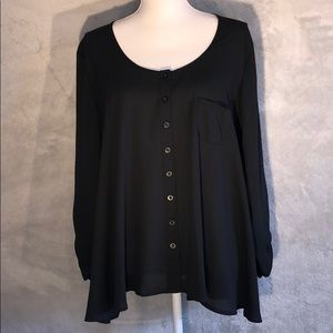 Style & Co Black Button Down Loose Fit Blouse